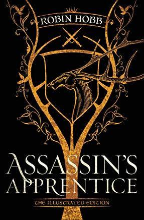 An image of a burnt sienna colored tree on a black background - the new bookcover for the Illustrated Assassin's Apprentice - is shown.